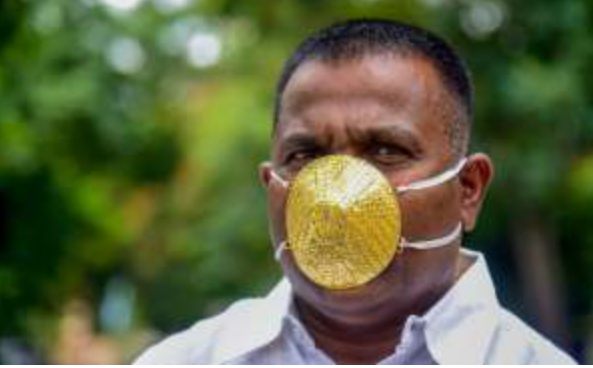 Face masks, Indian man wears '$4,000' gold face masks to beat back coronavirus