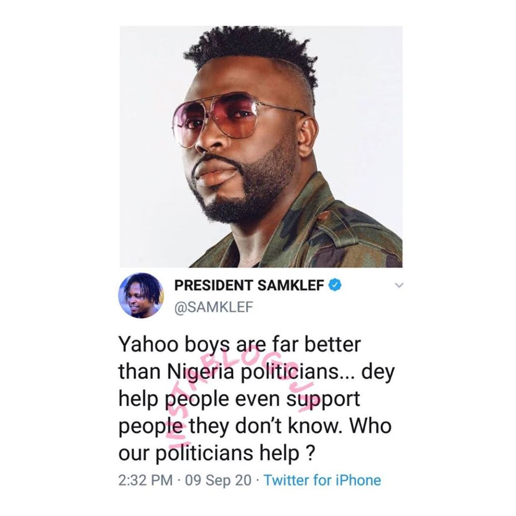 "SamKlef, ""Yahoo boys are far better than Nigeria politicians"" – SamKlef"
