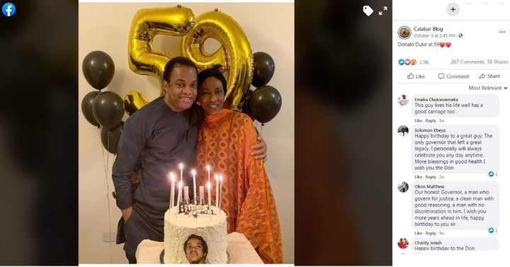 Donald Duke, Donald Duke's 59th Birthday Cake Made By His Wife, With His Face On It