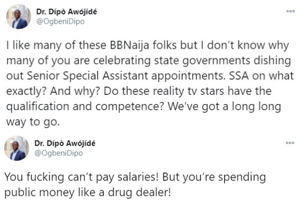 Dipo Awojide Condemns BBNaija Stars Getting State Government Appointments